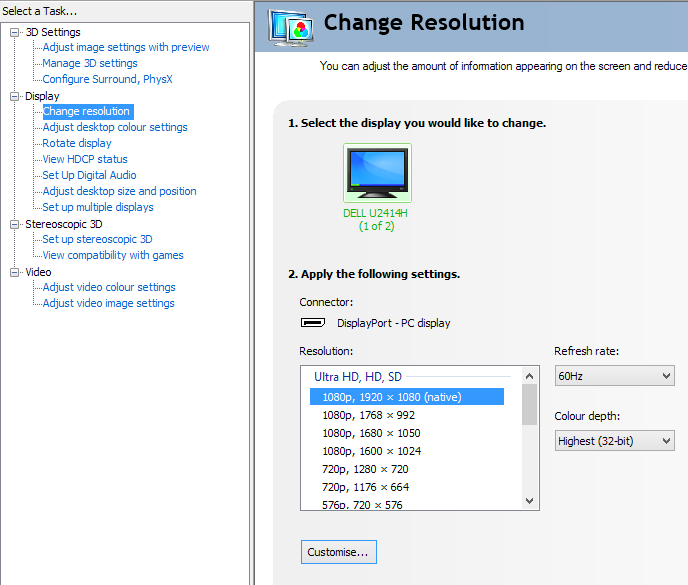 Resolutions in Nvidia Control Panel designed for HDTVs