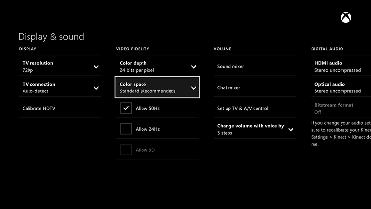 Relevant Xbox One options